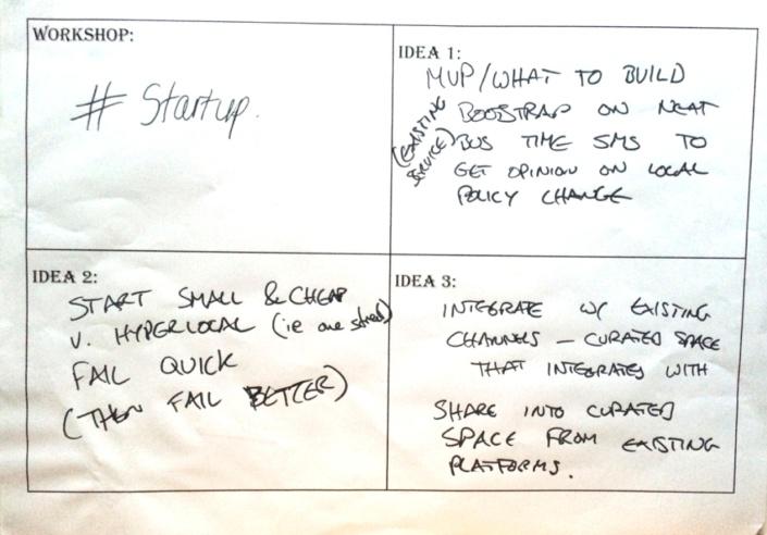 Startup placard
